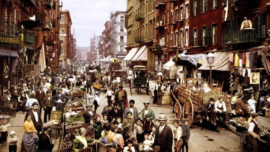 19世紀のニューヨークの市場