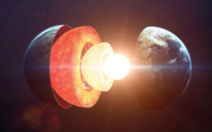 地球の内部構造。外側から地殻・マントル・外核・内核となっている。