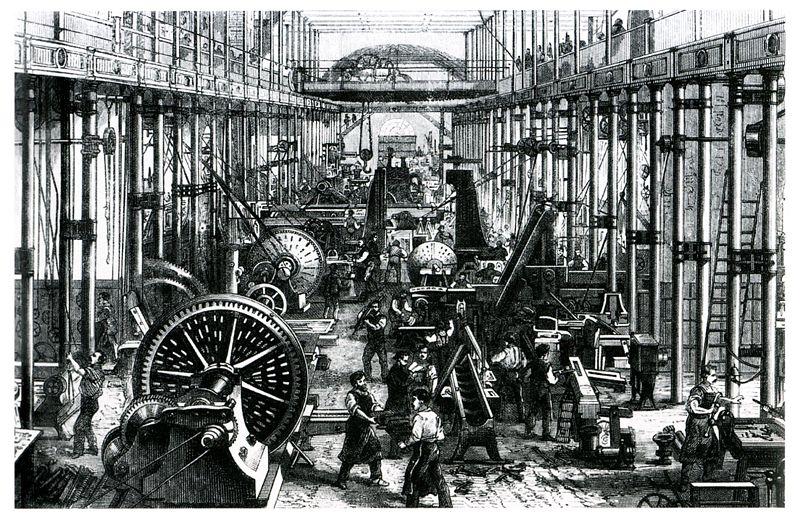 産業革命により機会化された工場