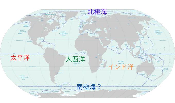 世界の海洋は基本的に大陸によって区切られている