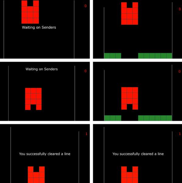 ゲームの一例。受信者となるプレイヤーは左側の画面のみが見えており、送信者となる2人は操作はできませんが左側の画面が見えている。