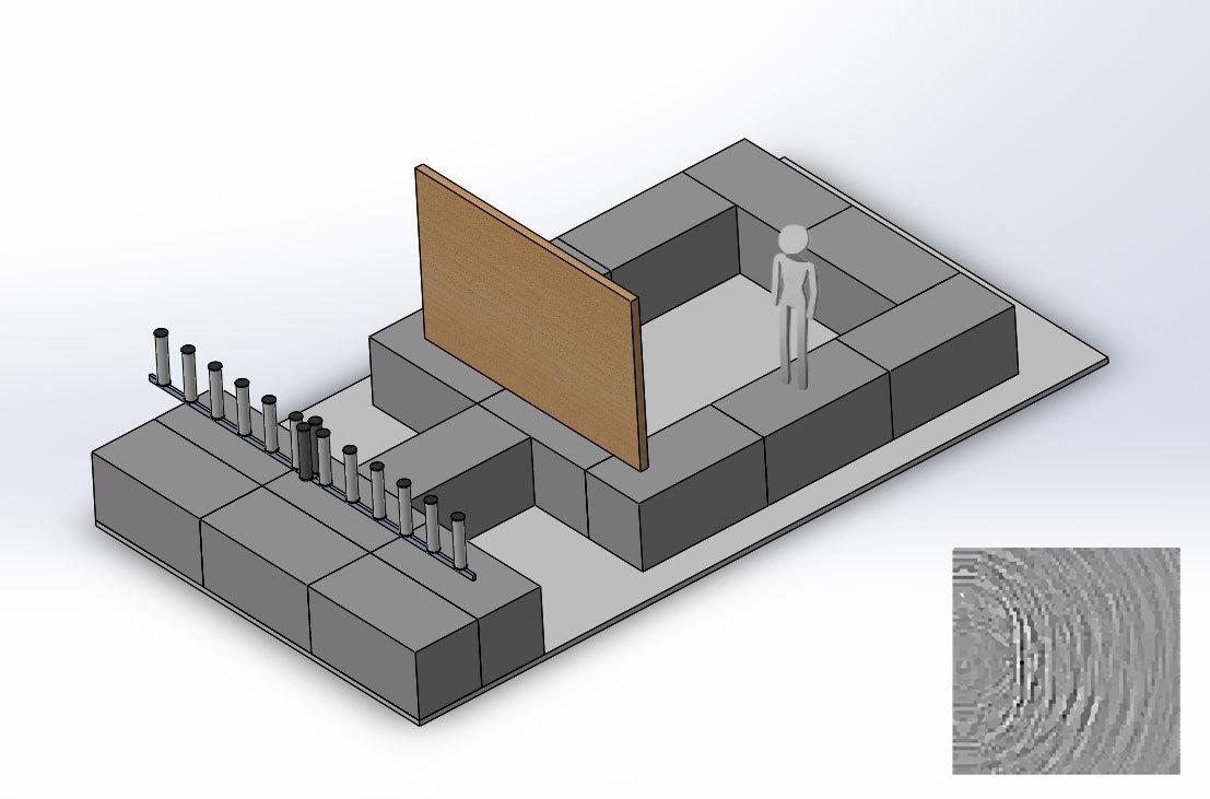 実験の概要図。手前に並ぶ円筒から電波を出し板壁の向こうの様子を画像化する
