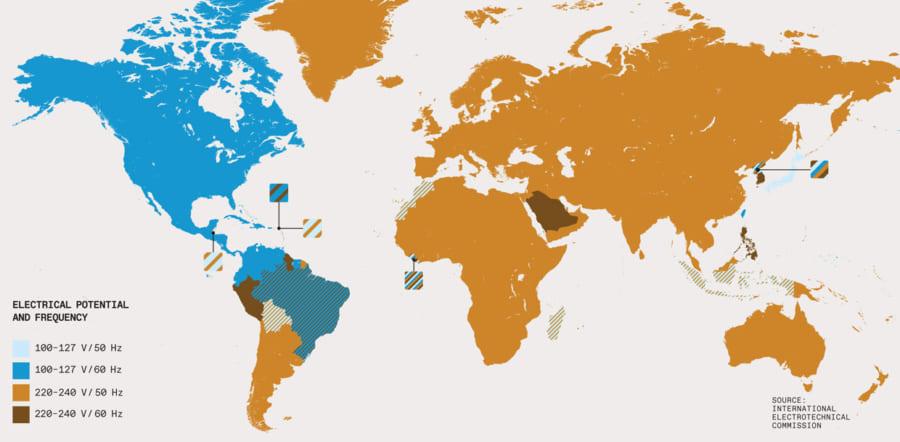 世界で利用されている電圧と周波数