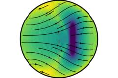 重力が鉄の結晶を北極と南極に向けて押し出すことで、非対称な成長を均等化する(矢印)。破線は地球の回転軸。