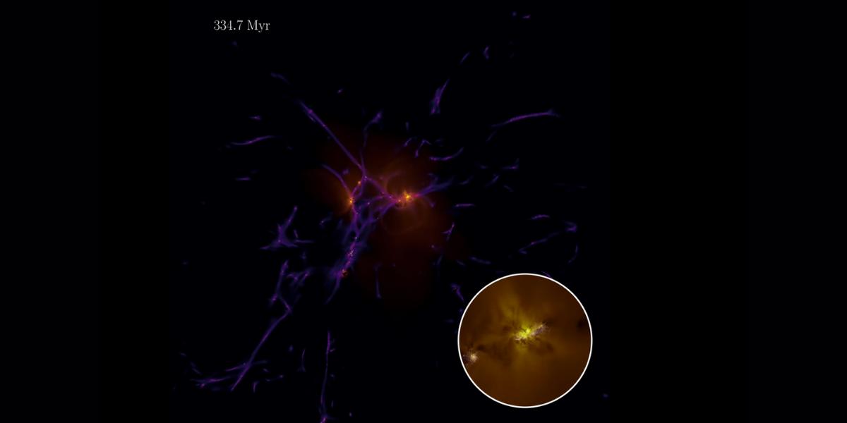 最初の星と銀河形成の進化を示す動画のキャプチャ