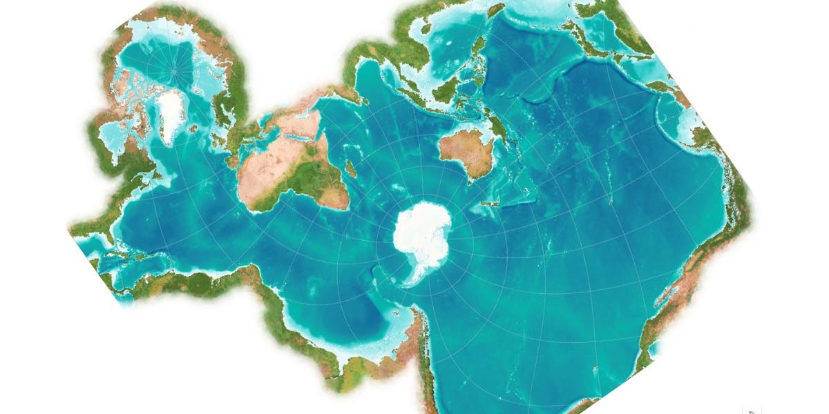 南極を中心に見た世界の海