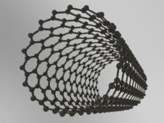 炭素原子の格子でできた中空のカーボンナノチューブ