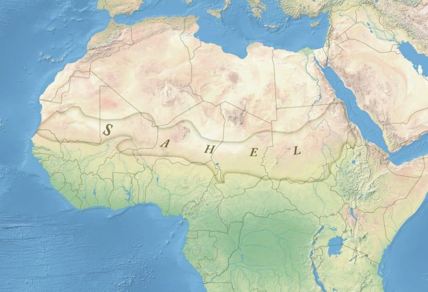 アフリカのサヘル地域。サハラ砂漠の南縁部。