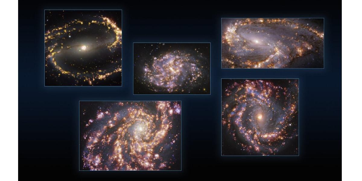 近隣銀河NGC 1300、NGC 1087、NGC 3627(上、左から右)、NGC 4254、NGC 4303(下、左から右)の観測画像