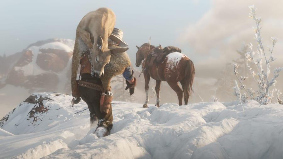序盤では不評な雪山だが、RDR2は自然環境や狩りが強いこだわりをもって描かれている