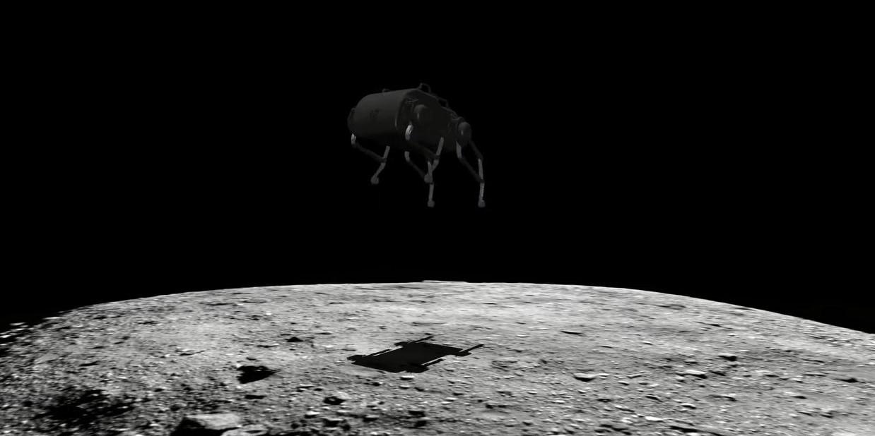 小惑星上をジャンプする四足歩行ロボット