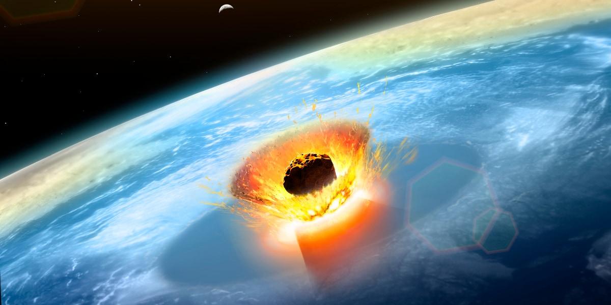 現在のメキシコ・ユカタン半島に落下したチクシュルーブ衝突体の想像図