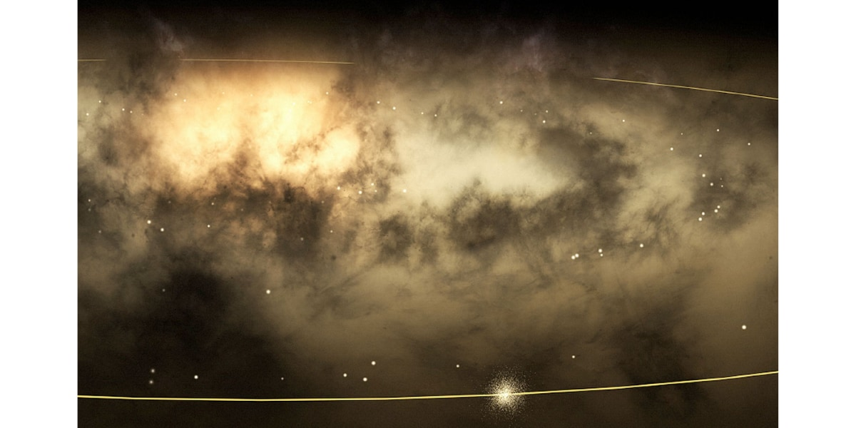 銀河の外から天の川銀河の中心と太陽を見た場合のアーティストイメージ。ラインは太陽系の軌道