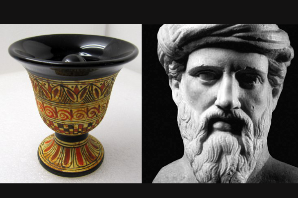 欲張ると飲み物がきえる「ピタゴラスのカップ」の大発明?