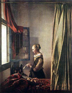 修復前の『窓辺で手紙を読む女』1659年頃、アルテ・マイスター絵画館所蔵