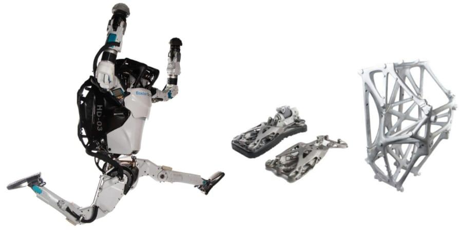 ATLASはコンパクトな携帯油圧システムを搭載した人型ロボット。右は3Dプリントされたパーツ。