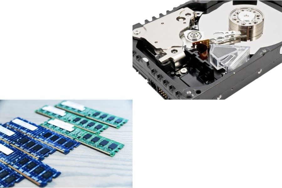 メモリとハードディスク。どちらも電力の消費は大きい。