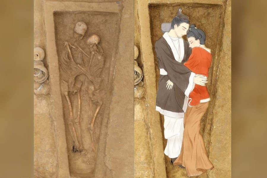 """「永遠につづく愛」1600年前の""""抱擁したまま埋葬された男女""""が中国で見つかる"""