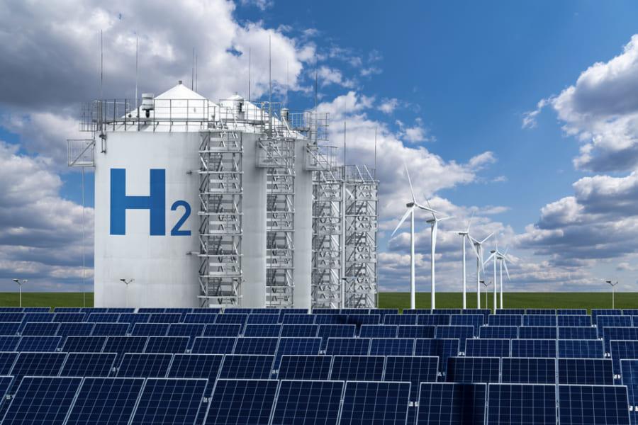再生可能エネルギーを利用した水素向上のコンセプト画像