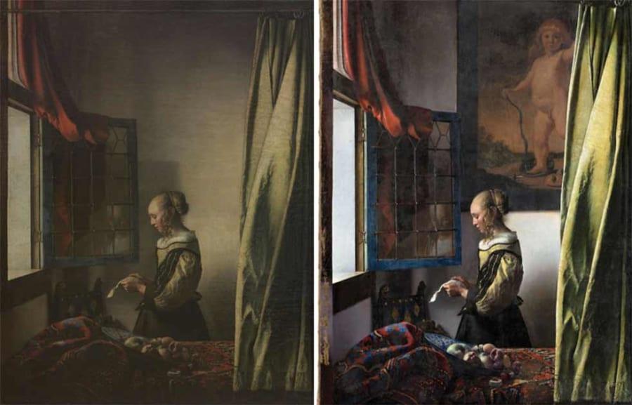 フェルメールの名画『窓辺で手紙を読む女』に隠された真の姿が修復される