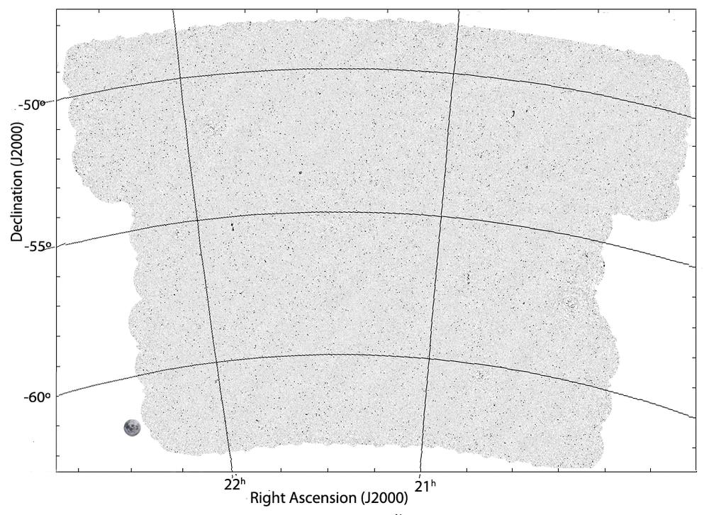 EMUパイロットサーベイによって作成された画像。左下の丸いのが満月のサイズ。