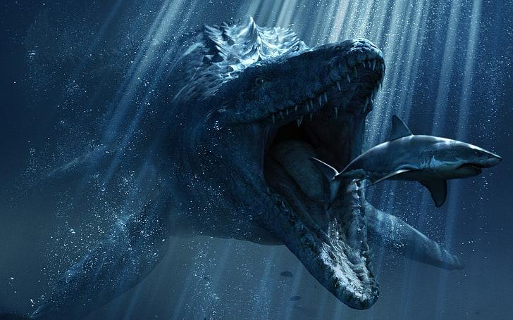 モササウルスとサメ