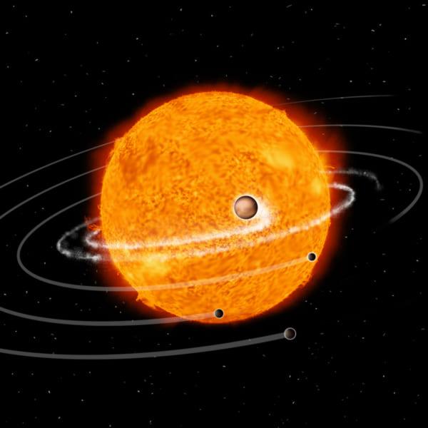 恒星に落ちる巨大惑星のイメージ図