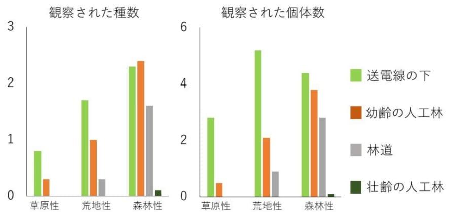各環境で確認されたチョウの種数と個体数。値は調査地1か所あたりの平均値