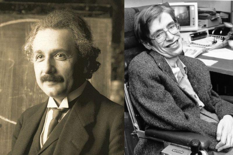 (左)アルベルト・アインシュタイン, (右)スティーヴン・ホーキング