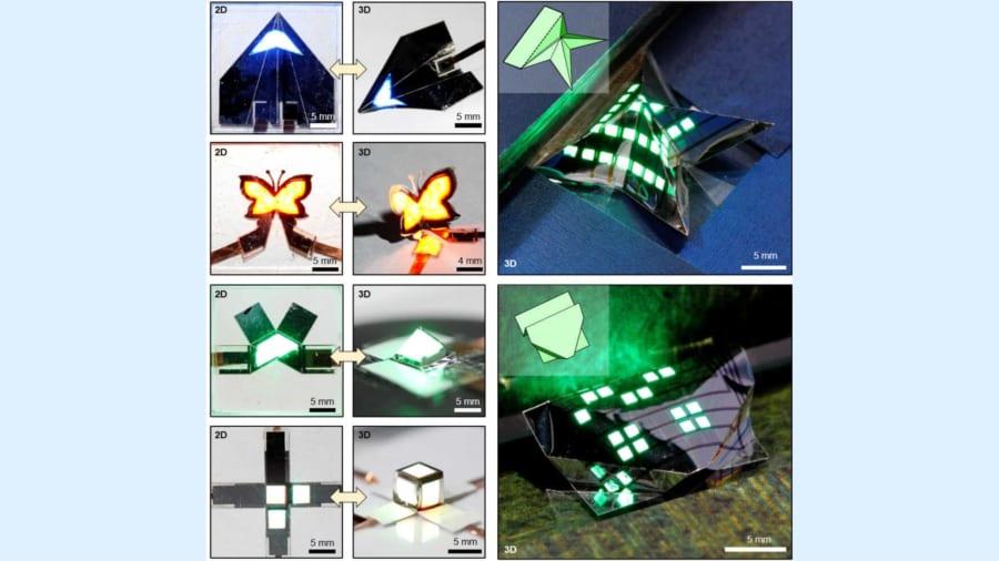 単一のパネルが蝶・ピラミッド・紙飛行機の一部など3次元的な加工ができる