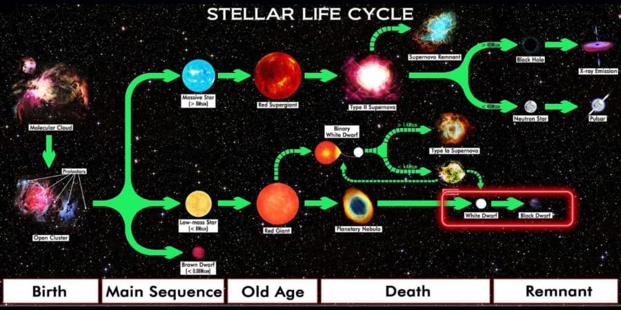 恒星の一生を示した図。赤枠が白色矮星と黒色矮星。