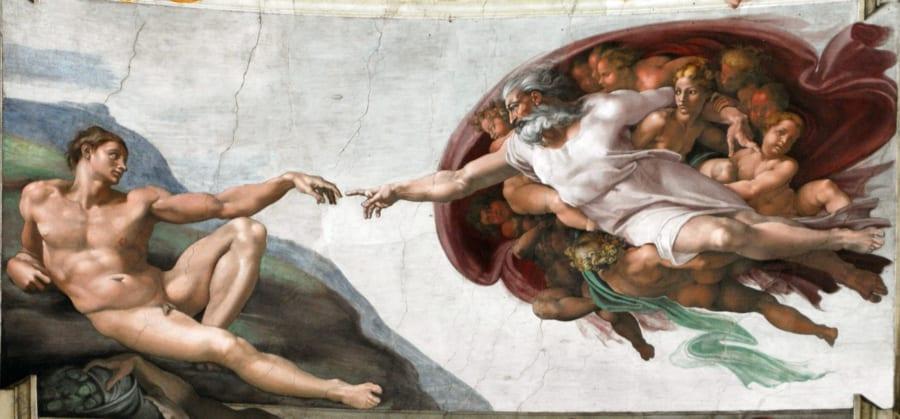 システィーナ礼拝堂の天井画『天地創造』に含まれる絵画の一つ『アダムの創造』