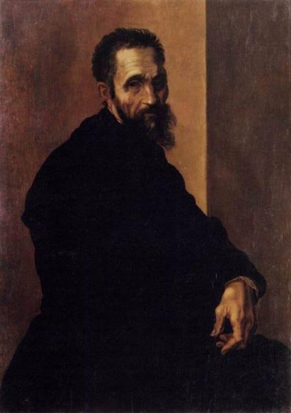イタリアの画家ジャコピーノ・デル・コンテ作の「ミケランジェロの肖像画」