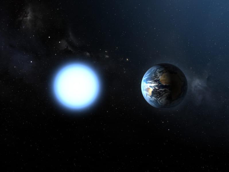 太陽のような星は死ぬと地球サイズのコアだけが残り予熱で輝く白色矮星になる