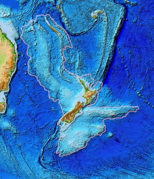 枠線がジーランディアの範囲、中央に浮かぶのがニュージーランド
