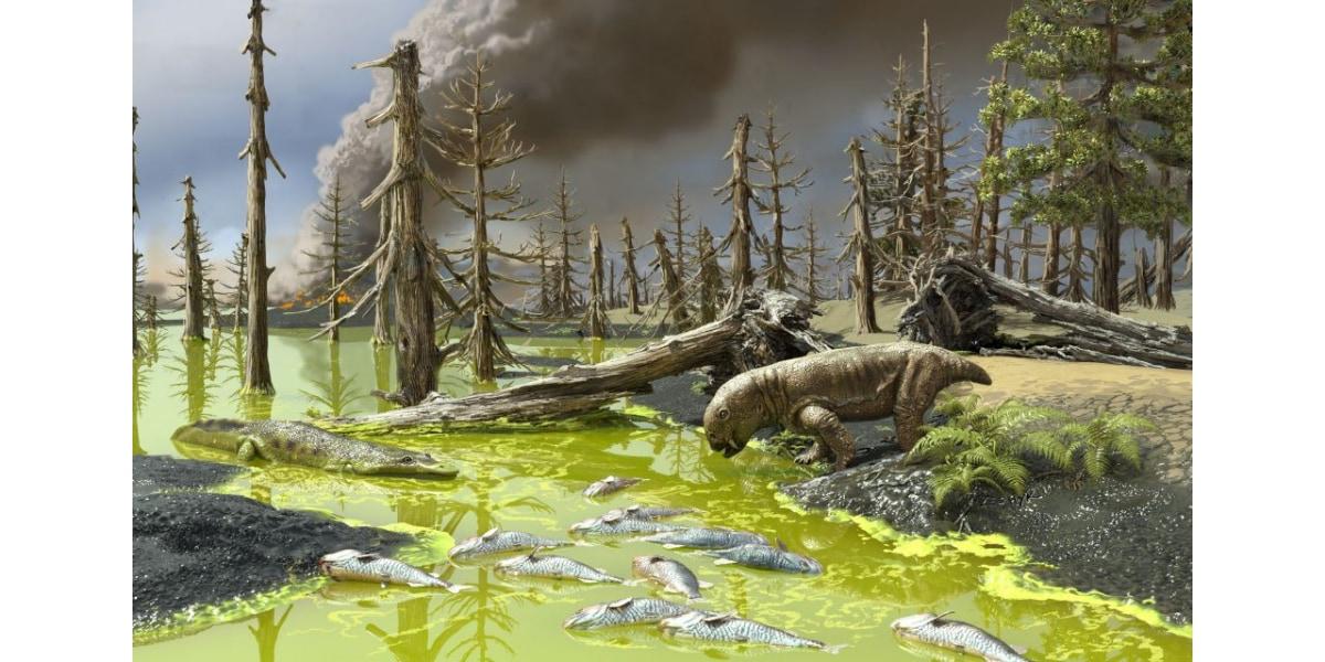 地球上のほぼすべての生命を一掃したペルム紀末の大量絶滅のアーティストイメージ
