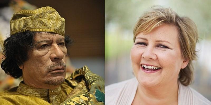 (左)リビアの独裁者「ムアンマル・アル=カッザーフィー」, (右)ノルウェー首相「エルナ・ソルベルグ」