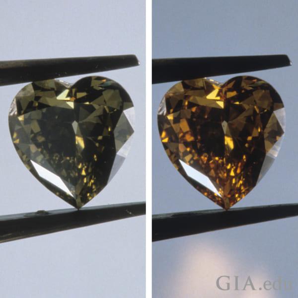 加熱で変化するカメレオンダイヤモンド。(左)加熱前(右)加熱後