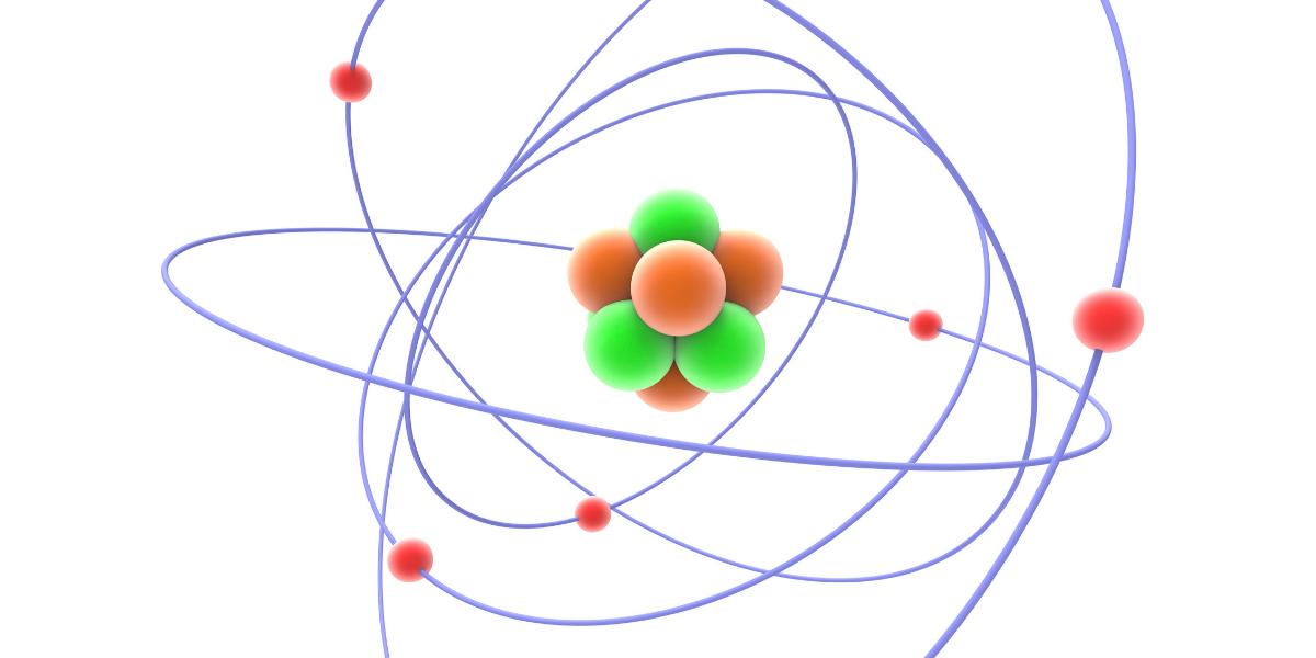 原子の構造を示したアートワーク。中性子は原子核の中では安定するが自由中性子は15分程度の寿命しか持たない。