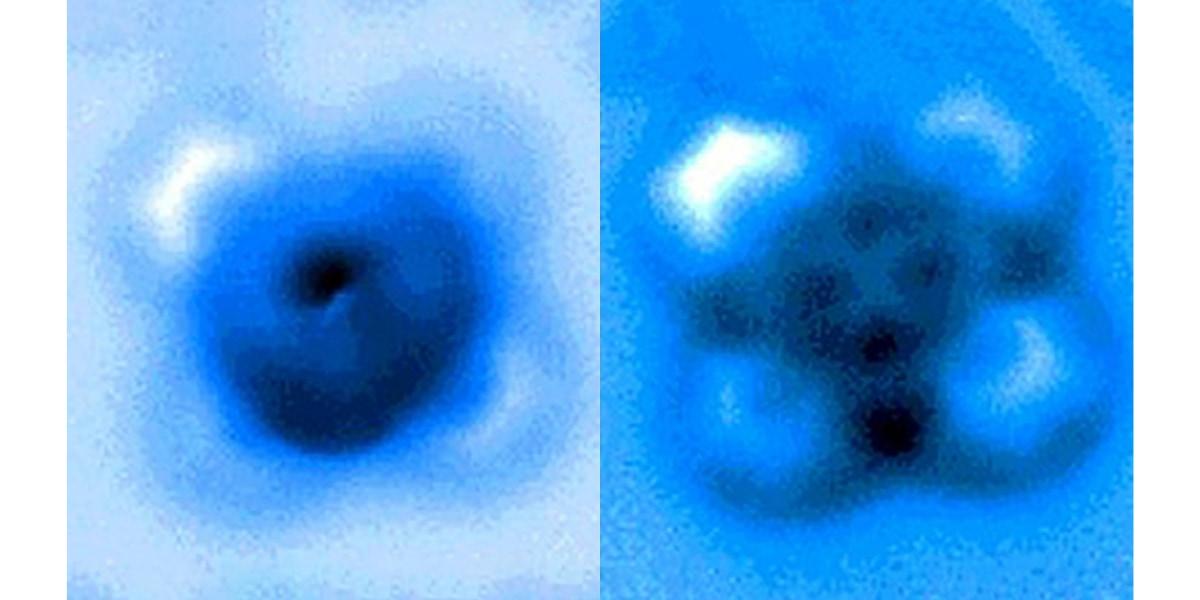 一酸化炭素と鉄フタロシアニンの間の結合を機械的な力で切断した画像。左が結合時、右が切断後を表す。
