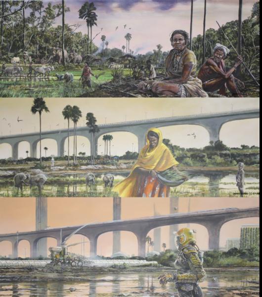 インド亜大陸の変化を示したイラスト。一番上は田植えや家畜を利用している農耕村の風景。真ん中はインフラ整備の進んだ現代。下は未来の風景でドローンが農業を行ったりしている。