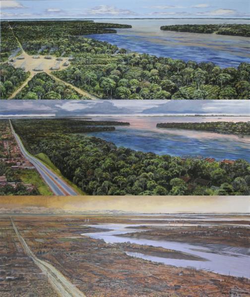 上からCE1500年、現在、CE2500年のアマゾンを描いたイラスト