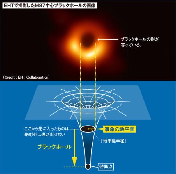 ブラックホールの質量は時空の曲率が無限大になる特異点に集中している